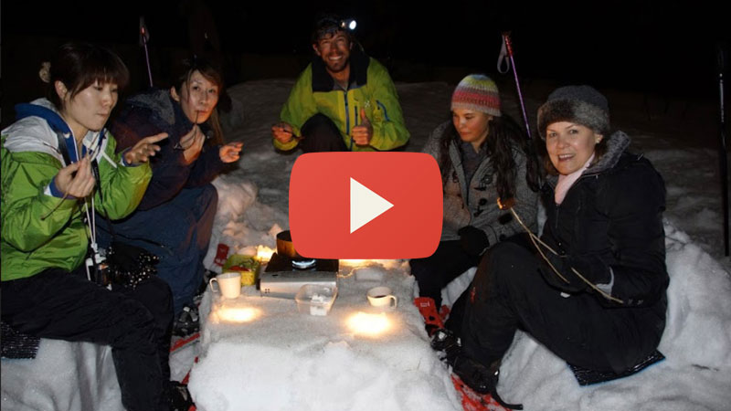 night snowshoe tours in hakuba